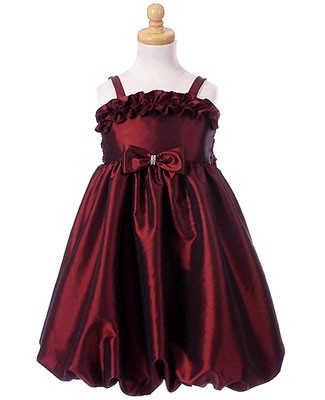 Crayon Kids Burgundy Ruffle Bow Strappy Bubble Dress