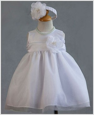 Z: Crayon Kids White Sleeveless Infant Dress & Headband Set