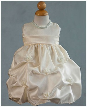 Z: Crayon Kids Ivory Sleeveless Infant Gathered Dress w/ Roses