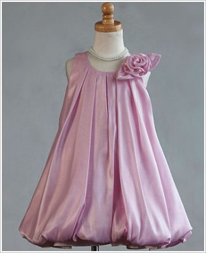 Z: Crayon Kids PINK Sleeveless Side Flower Pleated Bubble Dress
