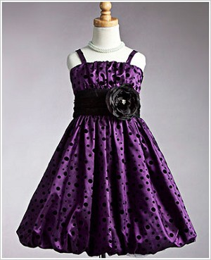 Z: Crayon Kids Purple Strappy Bubble Dress w/ Black Dots