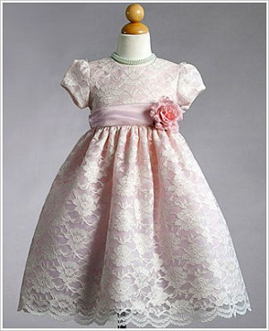 Z: Crayon Kids Pink S/S Lace Overlay Dress