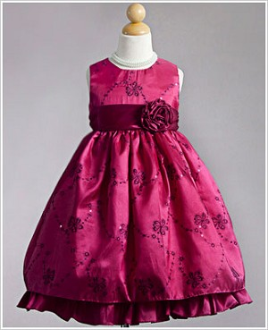 Z: Crayon Kids Fuschia Sleeveless Embroidered Flower Vine Ruffle Dress