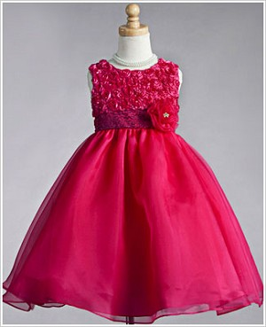 Z: Crayon Kids Fuschia Sleeveless Dress w/ Rose Bodice & Printed Sash