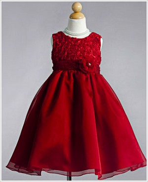 Z: Crayon Kids Red Sleeveless Dress w/ Rose Bodice & Printed Sash