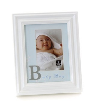 Cupecoy Home Fashions Wide Profile Wooden *Baby Boy* Photo Frame w/ Blue Mat