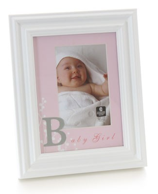 Cupecoy Home Fashions Wide Profile Wooden *Baby Girl* Photo Frame w/ Pink Mat