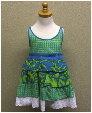 Danica and Dylan Green/Blue Floral Tiered Babydoll Dress