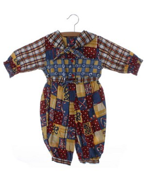 12m Deux Par Deux Red, Yellow And Blue L/S Romper