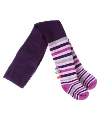 Deux Par Deux Purple/Pink/Grey Striped Tights w/ Bows