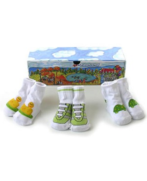 Dimples *Let's Go To The Park* 3 pk Unisex Booties in Gift Box