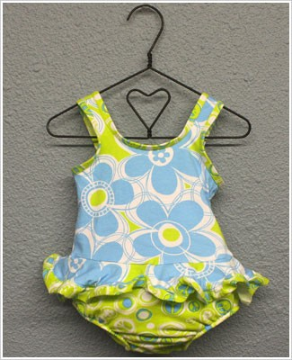 Flap Happy *Doris Daisy* Blue/Green Ruffled 1pc Swimsuit w/ Built in Swim Diaper
