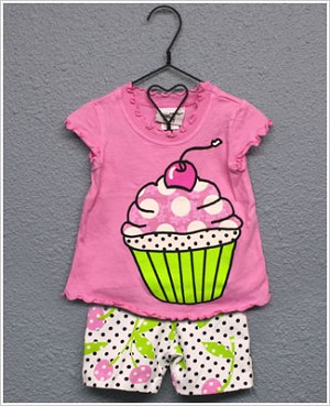 Flap Happy *Cherry Pop* S/S Cupcake Top & Dotted Cherry Print Biker Short Set