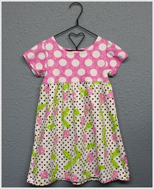 Flap Happy *Cherry Pop* S/S T-Dress with Pink/White Dots & Dotted Cherry Print