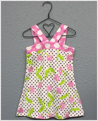 Flap Happy *Cherry Pop* Strappy V Front Dress w/ Dots and Cherry Print