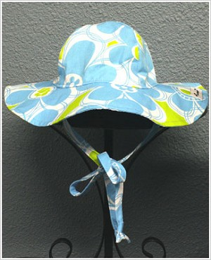 Flap Happy *Doris Daisy* Blue/Green Floppy Hat UPF 50+
