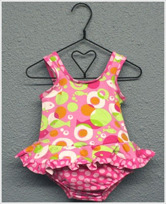 Flap Happy *Mod Fish* Pink/Green Ruffled 1pc Swimsuit w/ Built in Swim Diaper