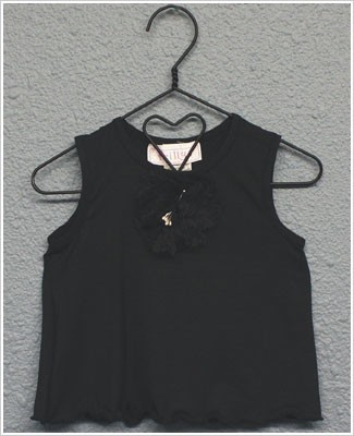 Frillys Black Tank Top w/ Flower