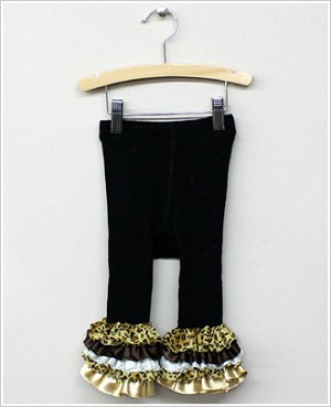 Frillys Black Footless Tights With Leopard/Gold Layer Ruffle Trim