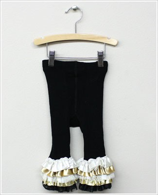 Frillys Black Footless Tights With Black/Gold Layer Ruffle Trim
