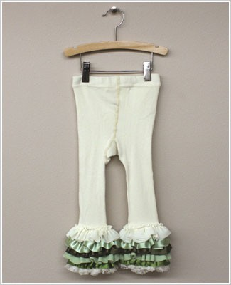 Frillys Cream Footless Tights With Green/Cream Layer Ruffle Trim