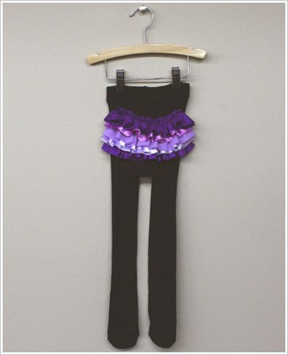 Frillys Black Tights With Purple/Lavender Ruffle Bottom