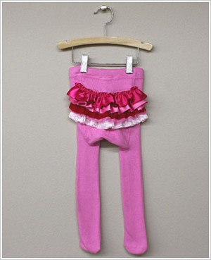 Frillys Pink Tights With Pink/Red Ruffle Bottom