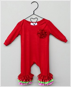 Frillys Red Romper w/ Red/Pink/Green Ruffles