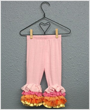 Frillys Pink Leggings With Sherbert Chiffon Layer Ruffle Trim