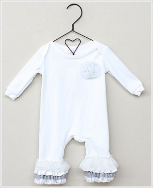 Frillys White Romper w/ White/Silver Ruffles