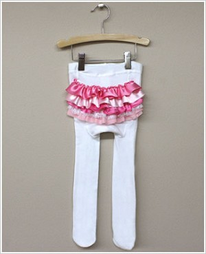 Frillys White Tights With Pink/Light Pink Ruffle Bottom