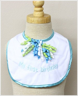 Ganz Blue/White *My First Birthday* Bib w/ Curly Ribbons