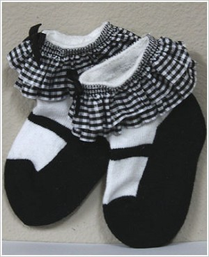 Ganz White/Black Mary Jane Baby Socks w/ Black/White Checked Ruffle
