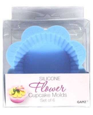 Ganz Silicone BLUE Flower Cupcake Mold *Set of 6*