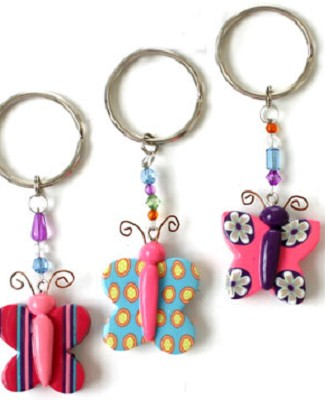 Ganz Colorful Butterfly Key Ring *Many Colors!*