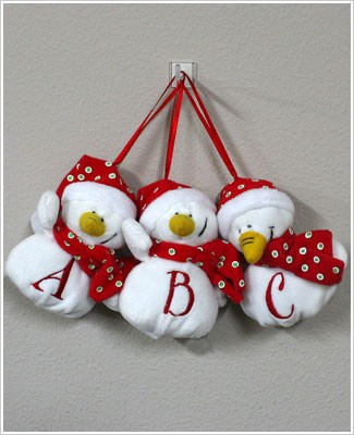 Ganz Plush Initial Snowman Ornament