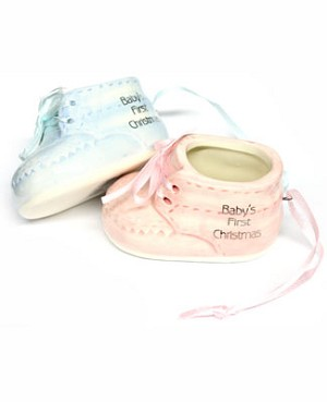 Ganz *Baby's First Christmas* Shoe Ornament *Pink or Blue*
