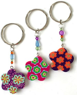 Ganz Colorful Flower Key Ring