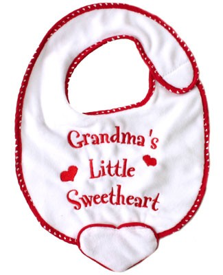 Ganz Red/White Bib *Grandma's Little Sweetheart*