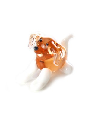 Ganz *Tan Dog w/ White Legs and Tail* Mini Glass Animal World