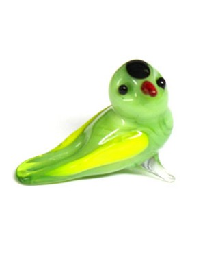 Ganz *Green/Yellow Bird* Mini Glass Animal World