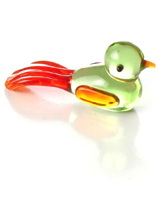 Ganz *Green Bird with Long Red Tail* Mini Glass Animal World
