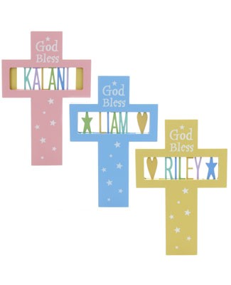 Ganz *God Bless* Personalized Cross Plaque *Many Colors!*