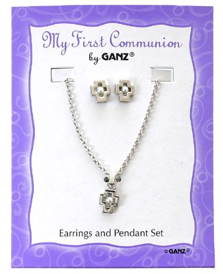 Ganz First Communion Pearl Earring/Necklace Set *White or Yellow*