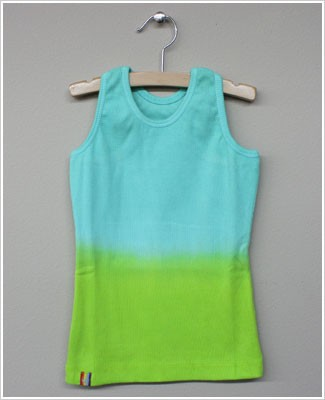 Girl and Company *Cotton Candy* Aqua to Lime Ribbed Tank