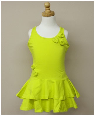 Girl and Company *Escape* Miami Chartreuse Dress With Flowers