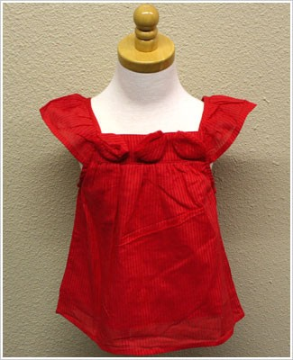 GT Red Stripe Woven Sun Top with Rosettes