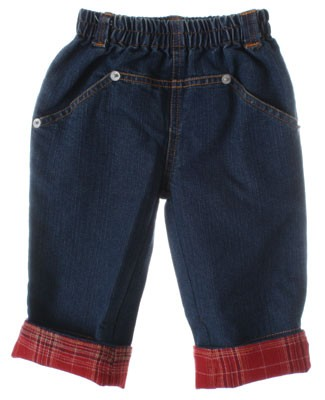 GT Denim Pants With Red Plaid Cuffs