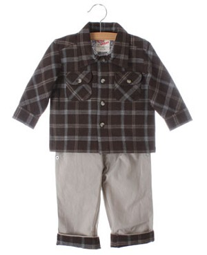 GT Brown Plaid L/S Shirt And Khaki Pants With Plaid Cuffs