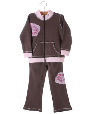GT Brown And Pink L/S Top With Rose And Matching Pants